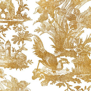 Chinoiserie Toile ~ Gilt on White