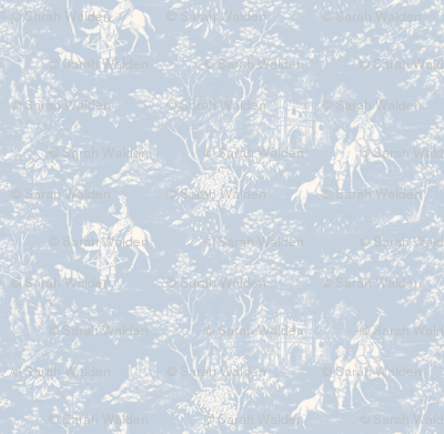 The Grand Hunt Toile ~ Versailles Fog and White