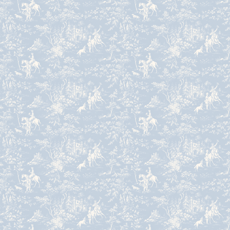 The Grand Hunt Toile ~ Versailles Fog and White  fabric by peacoquettedesigns on Spoonflower - custom fabric