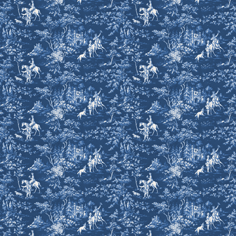 The Grand Hunt Toile ~ Lonely Angel Blue and White  fabric by peacoquettedesigns on Spoonflower - custom fabric