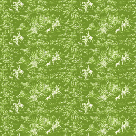 The Grand Hunt Toile ~ Bracken and White  fabric by peacoquettedesigns on Spoonflower - custom fabric