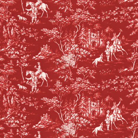 The Grand Hunt Toile ~ Turkey Red and White fabric by peacoquettedesigns on Spoonflower - custom fabric