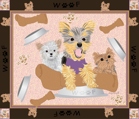 Miki, Yorkie hungry bone fabric - Cheater Quilt fabric by sherry-savannah on Spoonflower - custom fabric