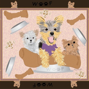 Miki, Yorkie hungry bone fabric - Cheater Quilt