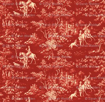 The Grand Hunt Toile ~ Turkey Red and Trianon Cream