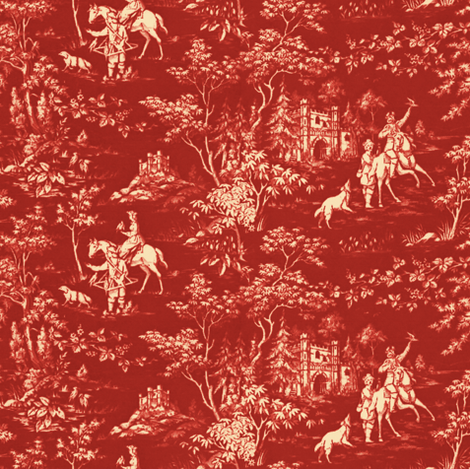 The Grand Hunt Toile ~ Turkey Red and Trianon Cream  fabric by peacoquettedesigns on Spoonflower - custom fabric