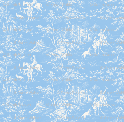 The Grand Hunt Toile ~ Jasper Blue and White