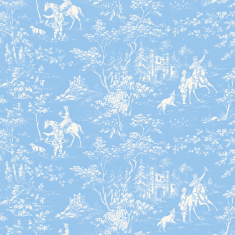 The Grand Hunt Toile ~ Jasper Blue and White  fabric by peacoquettedesigns on Spoonflower - custom fabric