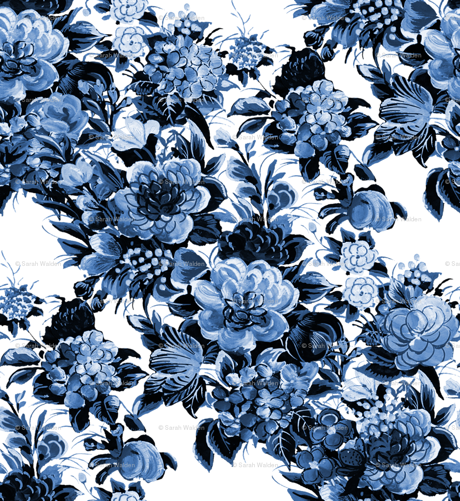 Mid century modern floral cocktail lonely angel blue and white mid century modern floral cocktail lonely angel blue and white wallpaper peacoquettedesigns spoonflower dhlflorist Image collections