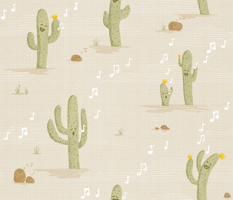 Desert Lullaby - Crooning Cacti fabric by pinky_wittingslow on Spoonflower - custom fabric