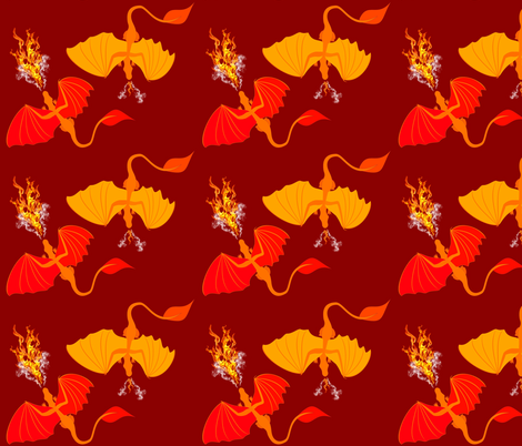 fire dragons fabric by pamelachi on Spoonflower - custom fabric