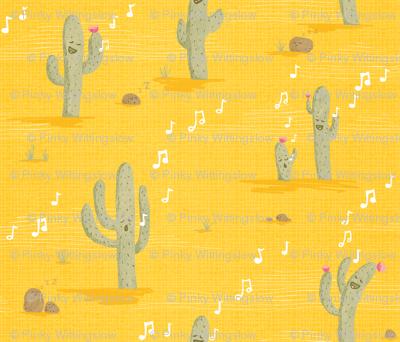 Desert Lullaby - Crooning Cacti Yellow