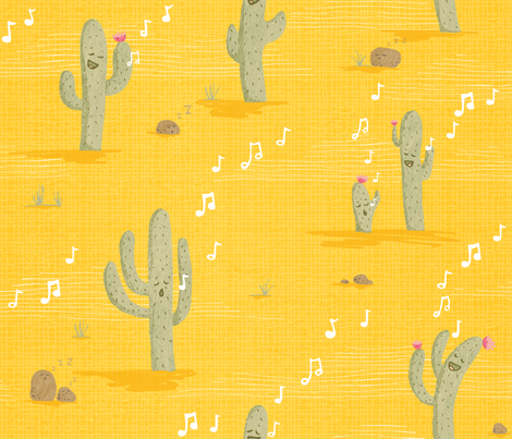 Desert Lullaby - Crooning Cacti Yellow fabric by pinky_wittingslow on Spoonflower - custom fabric