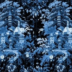 Chinoiserie Palace ~ Lonely Angel Blue and White on Black