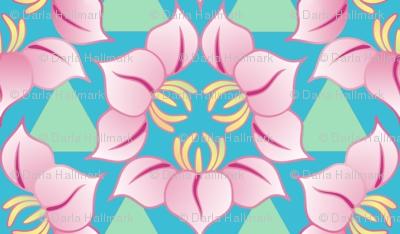 Triple flowers in asian style