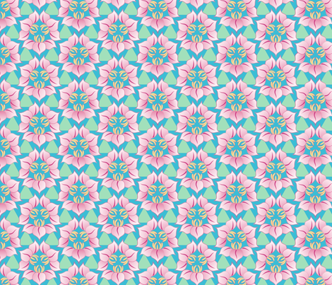 Triple flowers in asian style fabric by hannafate on Spoonflower - custom fabric