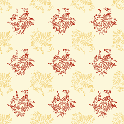 Caroline Calico ~ Rococo Gold and Turkey Red on Hameau  fabric by peacoquettedesigns on Spoonflower - custom fabric