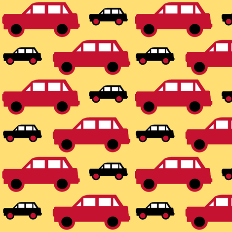 Cars_red_and_yellow_4 colours fabric by kittycansew on Spoonflower - custom fabric