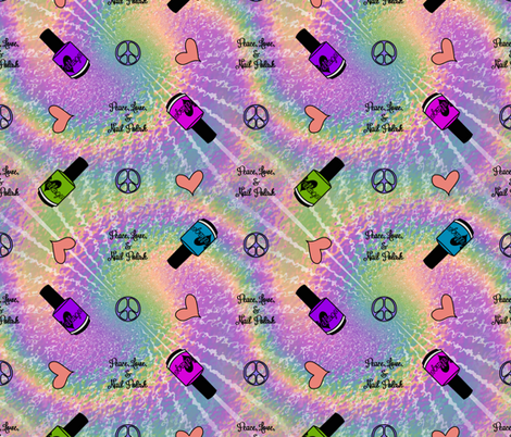 Peace, Love, & Nail Polish with ellagee logo fabric by ellagee on Spoonflower - custom fabric