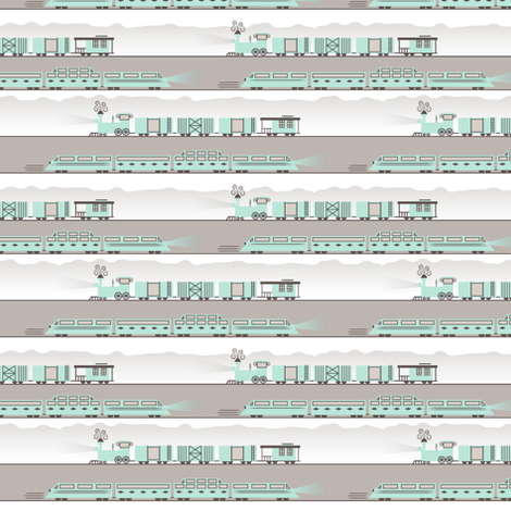 Aqua Trains fabric by jessgrady on Spoonflower - custom fabric