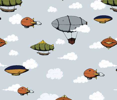 Blimps, Zeppelins, and Dirigibles fabric by svaeth on Spoonflower - custom fabric