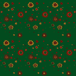 Retro Green Flowers