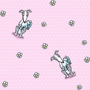 KiniArt Greyhounds Dots & Flowers