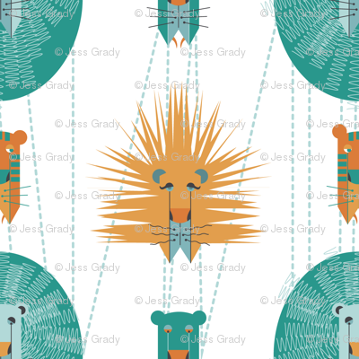 Aqua and Orange Lions