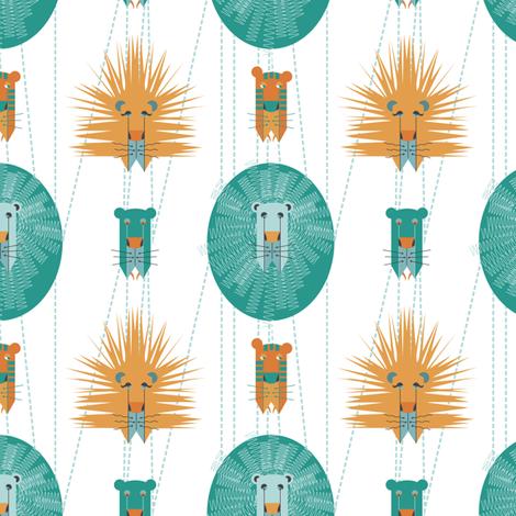 Aqua and Orange Lions fabric by jessgrady on Spoonflower - custom fabric