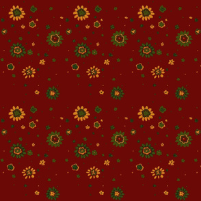Retro Red Flowers