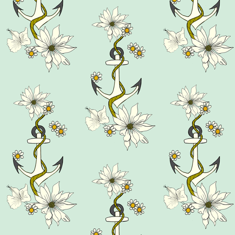 Anchor & Flowers with mint background fabric by carrie_narducci on Spoonflower - custom fabric