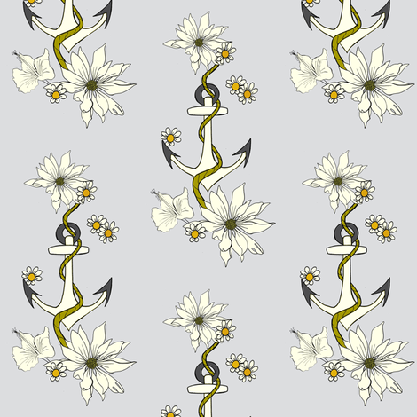 Anchor and Flowers fabric by carrie_narducci on Spoonflower - custom fabric