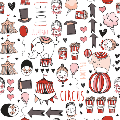 Circus love fabric by laurawrightstudio on Spoonflower - custom fabric