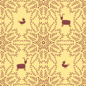 Star burst weave with animals-maize
