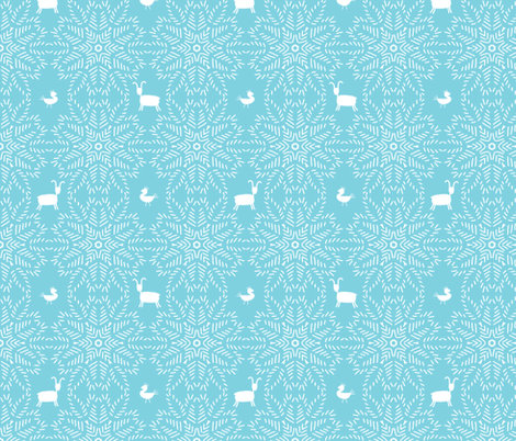 Star burst with animals - aqua fabric by designed_by_debby on Spoonflower - custom fabric