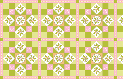 I Spy Southwest Cactus Flowers Quilt - Desert Pink, Desert Orange and Cactus Greens fabric by rhondadesigns on Spoonflower - custom fabric