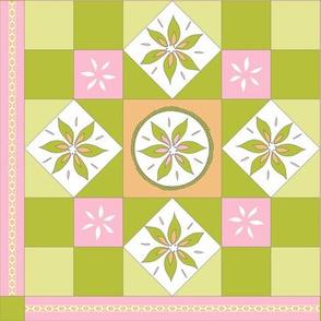 I Spy Southwest Cactus Flowers Quilt - Desert Pink, Desert Orange and Cactus Greens