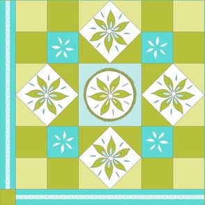 I Spy Southwest Cactus Flowers Quilt - Turquoise, Baby Blue and Cactus Greens