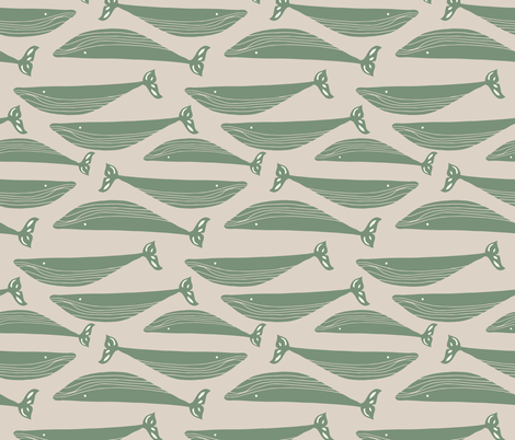 whales in olive green fabric by gemmacosgroveball on Spoonflower - custom fabric
