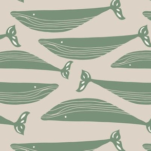whales in olive green