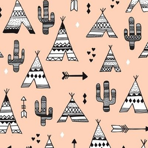 Cute indian summer teepee tent camping and arrow cactus western woodland theme in gender neutral soft pastel colors
