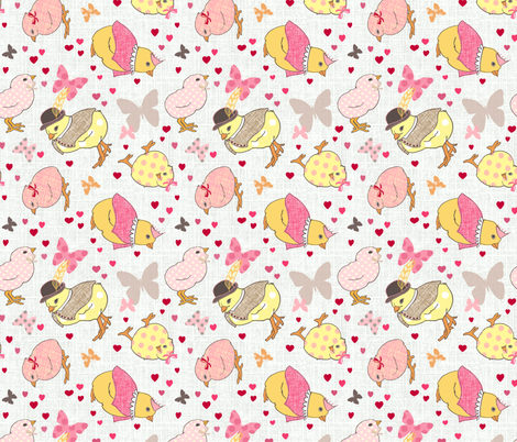 Happy chicks light fabric by designed_by_debby on Spoonflower - custom fabric