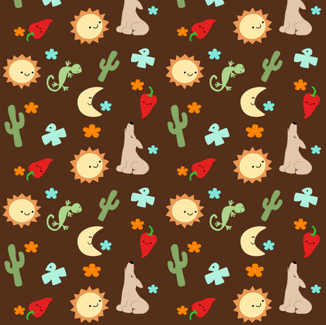 Southwest Dreams - Brown fabric by clayvision on Spoonflower - custom fabric