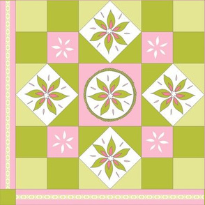 I Spy Southwest Cactus Flowers Quilt -  Desert Pinks and Cactus Greens
