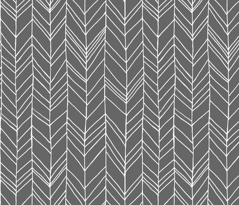 Featherland Gray/White LARGE fabric by leanne on Spoonflower - custom fabric