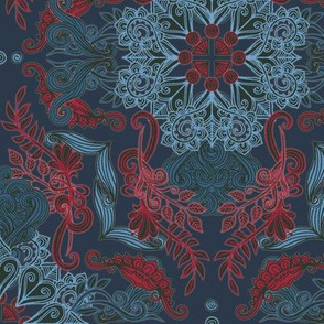 Vintage Fancy - a doodle pattern in red, deep teal and navy