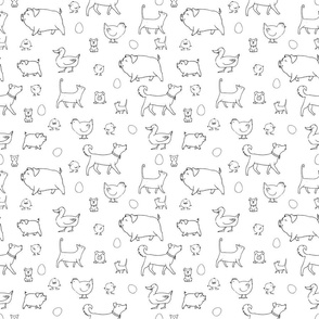 Animals and eggs pattern