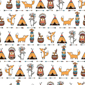ethnic pattern with funny southwest animals: foxes, owls, wolfs.