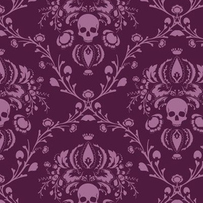 Orchid and Plum Skull Damask