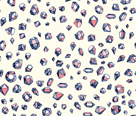 Scattered Geo Gemstones in Navy & Coral fabric by micklyn on Spoonflower - custom fabric